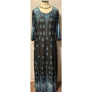 Reborn Collection XL Maxi Dress NWT Aqua White